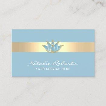 yoga massage therapy modern blue lotus flower business card