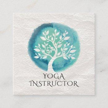 yoga meditation instructor elegant white teal tree square business card