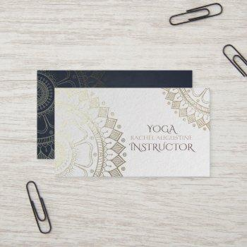 yoga meditation instructor gold mandala navy blue business card