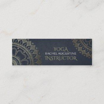 yoga meditation instructor gold mandala navy blue mini business card