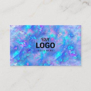 your logo on blue opal texture business card