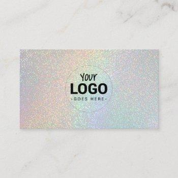 your logo on faux rainbow glitter effect business card
