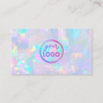 your logo on pastel opal gemstone business card