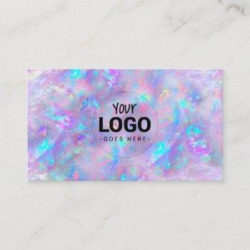 your logo on purple opal inspired background business card