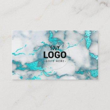 your logo on teal marble business card