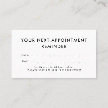 your next appointment reminder | minimalist