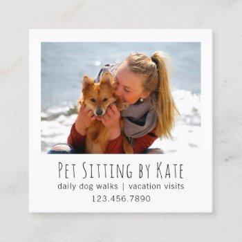 your photo pet sitting | dog walker simple white square business card