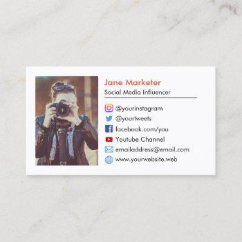 your photo | social media icons youtube, websites business card