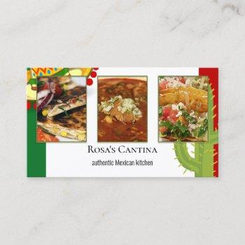 your photos mexican restaurant catering services business card