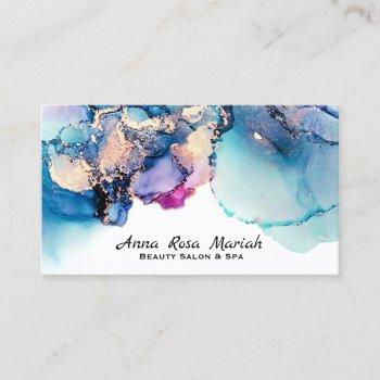 *~* yummy abstract teal turquoise gold gilded bold business card