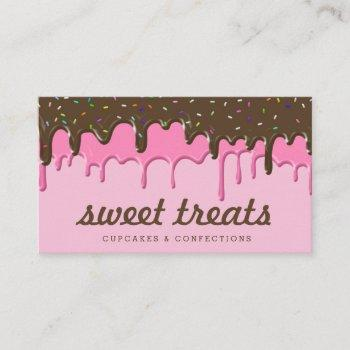 yummy pink cupcake icing ice cream drips business card