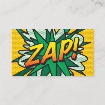 zap fun retro comic book business card