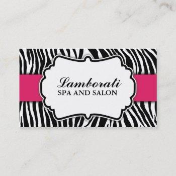 zebra print fashion hot pink elegant modern classy business card