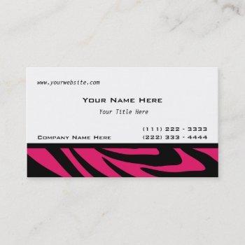 zebra stripes fuschia business card