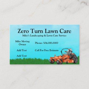 zero turn lawn care service business card