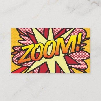 zoom fun retro comic book business card